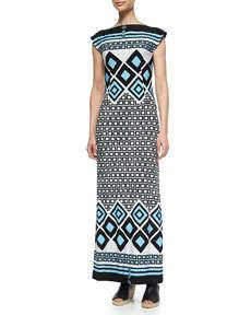T9FG1 Melissa Masse Geometric-Print Bateau-Neck Long Dress, Women's