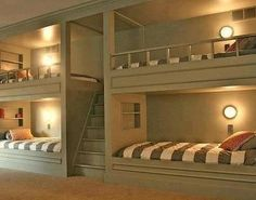 Lighted built-in bunks. Build steps to top bunks for easy access. Tiny home living in your own basement. Bunk Beds Built In, Loft Beds, Build In Bunk Beds, Game Room Basement, Basement Ideas, Playroom, Kids Basement, Rustic Basement, Basement Bars