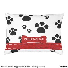 Personalize it! Doggie Paws & Bones - dog bed Large Dog Bed