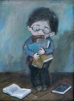 Demasiados libros para estudiar (ilustración de Nino Chakvetadzes)