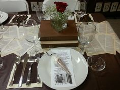 Book themed party table setting
