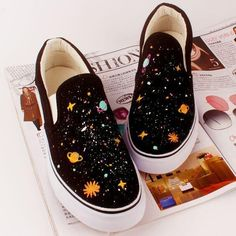 Harajuku fashion galaxy hand-painted canvas shoes SE10553