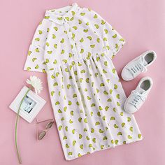 Allover Banana Print Half Placket Babydoll Dress