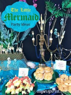 The Little Mermaid Party Ideas including food, decorations, and an Ariel Treasure Trove! by ava Little Mermaid Food, Little Mermaid Birthday, Little Mermaid Parties, Mermaid Bridal Showers, Birthday Party Themes, Cake Birthday, Birthday Ideas, Fourth Birthday, Diys