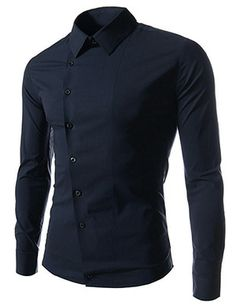 (CE90-NAVY) Slim Fit Stretchy Asymmetry Long Sleeve Shirts