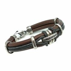 Bracelet in Sterling Silver and Leather // Pulsera para hombre en plata de ley y…