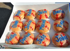 Decorate doughnuts like baseballs, basketballs, or soccer balls for a sport's party. Write guest's name on it too. So cute! Or use these for a special snack for your child's team.