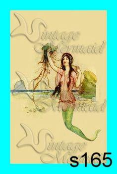 s164 Edwardian Art Nouveau Mermaid Vintage by wwwvintagemermaidcom, $7.00