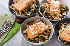 Miso & Maple-Glazed Salmon with Fresh Udon Noodles & Cremini Mushrooms. Visit https://www.blueapron.com/ to receive the ingredients.