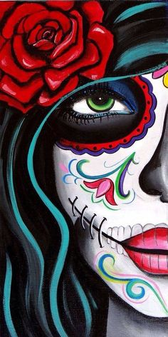 green eyes by melody smith mexican sugar skull mask woman canvas fine art print day-of-the-dead dia-de-los-muertos mexican tattoo artwork Title: Green Eyes Artist: Melody Smith Made-to-order giclee fine art reproductions on canvas featuring the original a Day Of Dead, Day Of The Dead Skull, Day Of The Dead Woman, Art Original, Green Eyes, Canvas Art Prints, Canvas Painting Designs, Painting Canvas, Pop Art