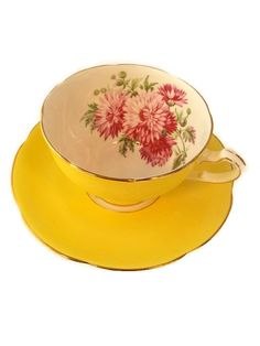 Vintage Adderley widemouth footed tea cup with soft yellow band with pink…