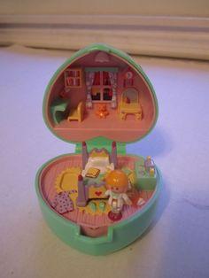 Vintage Polly Pocket Bluebird Midge's Bedtime 1991 Green Heart Ring Box No Puppy #DollswithClothingAccessories