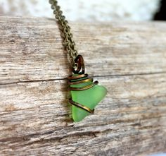 Sea Glass Necklace from Hawaii wire wrapped by MermaidTearsDesigns, $24.00