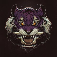 Sabre Tooth Tiger on Behance Tiger Artwork, Cool Artwork, Logo Tigre, Arte Zombie, Tiger Illustration, Japanese Tattoo Art, Lion Art, Samurai Art, Tiger Tattoo