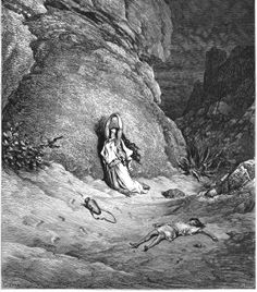 Engraving From The Dore Bible Illustrating Genesis Xxi 14 To 19 Hagar And Ishmael In The Desert By Gustave Dore French Artist And Illustrator Canvas Art - Ken Welsh Design Pics x Gustave Dore, Story Of Abraham, Bible Illustrations, Illustration Artists, Biblical Art, John The Baptist, Old Testament, Wood Engraving, Bible Art