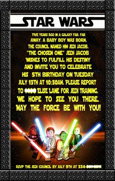 Great Star Wars Lego invitation! See more party ideas at CatchMyParty.com. #legos #starwars