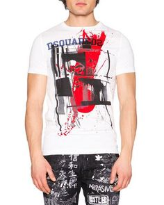 DSQUARED2 Abstract-Print Short-Sleeve Graphic Tee, White. #dsquared2 #cloth #