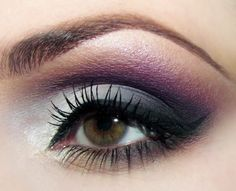Dramatic gray and violet eye for evening