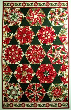 Quilted Wall Hanging  Floral   Kaleidoscope   by VillageQuilts
