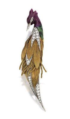 Gold, platinum, colored stone and diamond bird brooch, Sterle, Paris, circa 1960