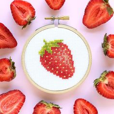 @thestrandedstitch has designed this mouth-watering strawberry cross-stitch pattern using DMC Stranded Cotton embroidery floss. Dmc Embroidery Floss, Embroidery Designs, Cross Stitch Freebies, Flamingo Pattern, Stationery Design, Color Card, Wool Yarn, Flower Patterns, Cross Stitch Patterns