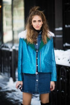 @chiaraferragni wearing the #ACforAG Pixie dress during NYFW February 2015