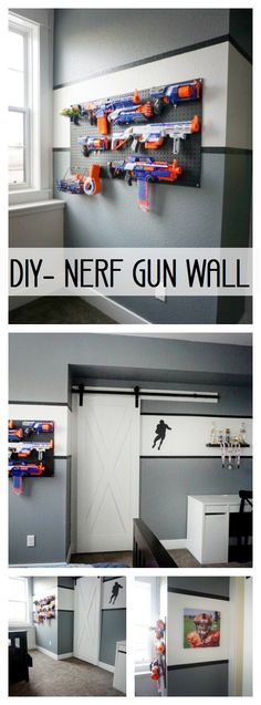 I've had a lot of requests for this DIY nerf gun wall so I will share how I did it! It's SUPER easy and takes only a few products and very little time to put this together. I will say, this simple and affordable project will add some MAJOR style and character to a room. You can use this anywhere…