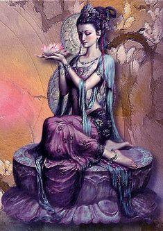 Kuan Yin the Chinese Goddess of Mercy, one of the most beloved of deities Buddha Kunst, Buddha Art, Sacred Feminine, Divine Feminine, Art Asiatique, Psy Art, Goddess Art, Orisha, Tibetan Buddhism
