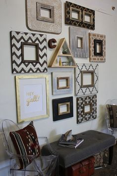 Set of Metallic Distressed Mod Wall Frames by deltagirlframes Modern Metallic and gallery Style still with a distressed feel….. this may be my fav set of all time, click the link to see where the other items were purchased