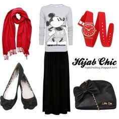 """Hijab style inspiration: red & black style"" by fashion4arab on Polyvore"