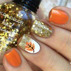 Fall autumn orange nail design