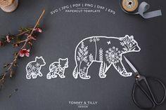 Baby Bear Tattoo, Tattoo Mama, Polar Bear Tattoo, Paper Cutting, Tattoo Sticker, Wedding Silhouette, Silhouette Design, Bear Design, Bear Art