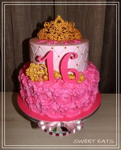 Sweet sixteen birthday cake #RoyalIcingTiara #RoyalIcingWand
