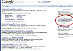 Ad Placement Fail - World of Warcraft Google Search Reveals a Interesting Ad In The Right Column