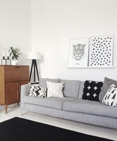 Grey, black and white living room