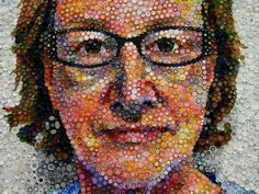 Self Portrait of recycled bottle caps by Mary Ellen Croteau.    found on ettestudios.com