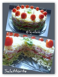 Nothing sweet but definitely just as pretty to look at. Is from the Partyrez . Party Finger Foods, Snacks Für Party, Finger Food Appetizers, Sandwich Torte, Sandwich Recipes, Meat Cake, Good Food, Yummy Food, Party Buffet