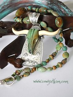 Brands :: David Troutman :: O'KEEFE GREEN TURQUOISE LONGHORN NECKLACE - Native American Jewelry|Ladies Western Wear|Double D Ranch|Ladies Un...http://www.cowgirlkim.com/cowgirl-brands/david-troutman/okeefe-blue-turquoise-longhorn-necklace-clone.html