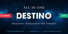 Destino - Digital/Fashion eCommerce PSD Template . Destino – A modern and professional eCommerce PSD Template for online digital/fashion shopping stores. In additional, this is an easy-to-use template for all kinds of business and sells any items as you wish. The beautiful template designed with modern style trend and clear layout. Destino supports