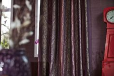 Chanten is a roomhigh curtain fabric with luxurious silk look, very soft touch and an eye-catching colour effect. It features an ornamental pattern woven in a very refined way, giving it an almost embroidered look.  It is woven in jacquard with shrink yarns, which gives the pattern a 3d effect. The whole look is then accentuated by a beautiful ombré effect on the colours; a truly rich and luscious curtain fabric. #interiors #decoration #curtains #upholstery #fabric #nomad #contemporary