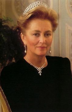 Queen Paola, Queen consort of the Belgians and wife of King Albert II, wearing Queen Elisabeth's Diamond Bandeau Tiara, Belgium (early 20th c.; diamonds).
