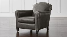 Crate and Barrel-Shop Eiffel French Leather Club Chair. Inspired by ready-to-wear leathers, the stunning leather upholstery tailors beautifully and has a gorgeous wax finish. Cozy Chair, Chair And Ottoman, Swivel Chair, Leather Club Chairs, Leather Loveseat, Industrial Dining Chairs, Metal Chairs, Blue Chairs, Living Furniture