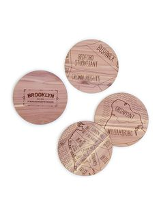 Coasters Cute & Affordable Bridesmaids Gift Ideas Mini Emergency Kit, Bridal Emergency Kits, Chicago Gifts, Map Coasters, Going Away Gifts, Wood Carving Patterns, City Maps, Unusual Gifts, Easy Gifts