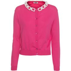 BOUTIQUE MOSCHINO Bones Chain Pink // Knit cardigan with chain detail (€99) ❤ liked on Polyvore featuring tops, cardigans, sweaters, chain top, slim fit cardigan, knit tops, pink cardigan and knit cardigan