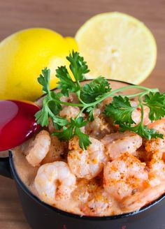 Spicy Shrimp in a Creamy Seafood Sauce.  Spicy, flavorful and very tasty - this shrimp dish is very easy to prepare.