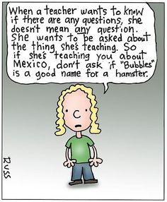 "GOOD ADVICE: When a teacher asks, ""Any questions?"""