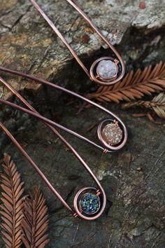 Hair fork copper hair stick valentines hair pin white by Kapelika, $25.00 so cuteee