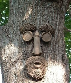 +Create varying styles of eyes, noses, mouths and other features in clay to define each tree's 'personality.' Make sure to seal & weatherproof for the outdoors. Lawn And Garden, Garden Art, Garden Sink, Cement Art, Tree People, Tree Faces, Garden Stones, Diy Wood Projects, Land Art