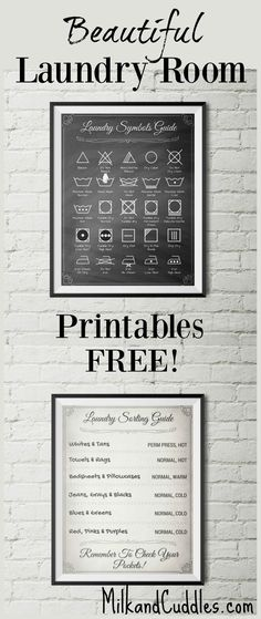 GENIUS! And FREE! Pinning for my Laundry room makeover. Free Decor!  Laundry room just not functioning the way you want? Looking rather lackluster?  That's why I LOVE these FREE printables for laundry room! Not only do they look elegant on the wall, but they serve an actual purpose by helping you translate the common laundry symbols found on clothing. #Laundry