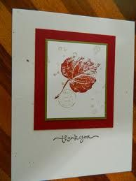 SU french foliage stamp set . Use the PTIs Linen Embossing Folder on base card